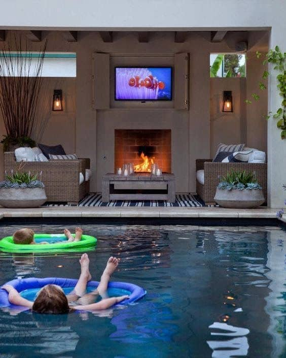 outdoor entertainment system and pool